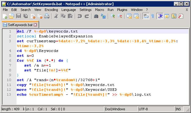 SetKeywords Batch Script